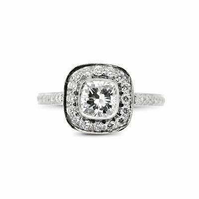 0.85ct Cushion Cut Diamond Grain Cluster Ring